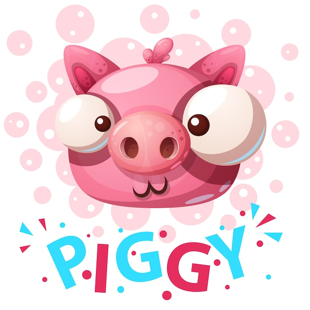 Personajes de cerdo lindo Vector Premium