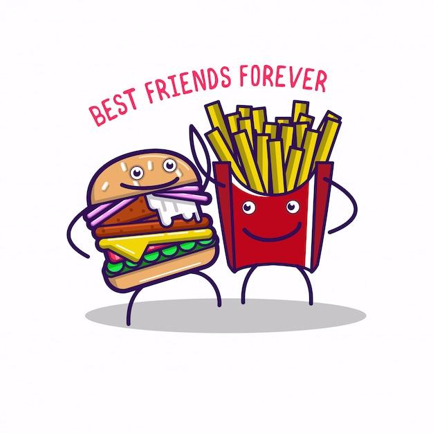 Personajes de comida rápida divertidos best friends forever Vector Premium