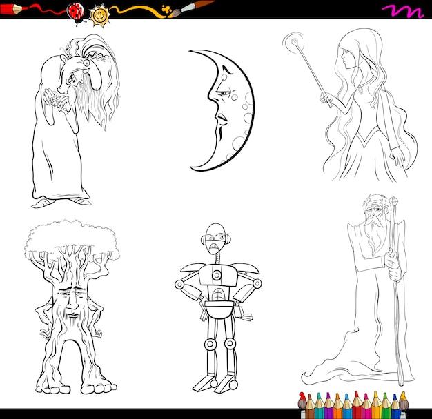 Personajes De Cuento De Hadas Para Colorear Vector Premium
