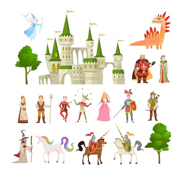 Personajes de cuento de hadas conjunto de vectores de fantasía medieval dragón mágico, unicornio, príncipes y rey, castillo real y caballero Vector Premium