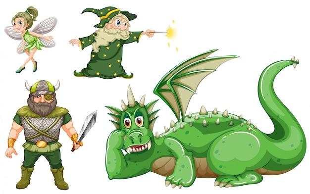 Personajes de cuento de hadas en verde. vector gratuito