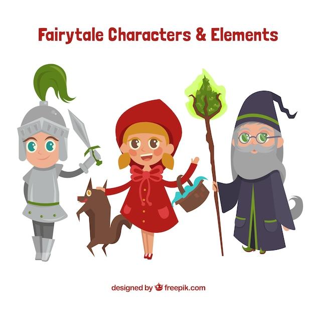 Personajes de cuentos de dibujos animados vector gratuito