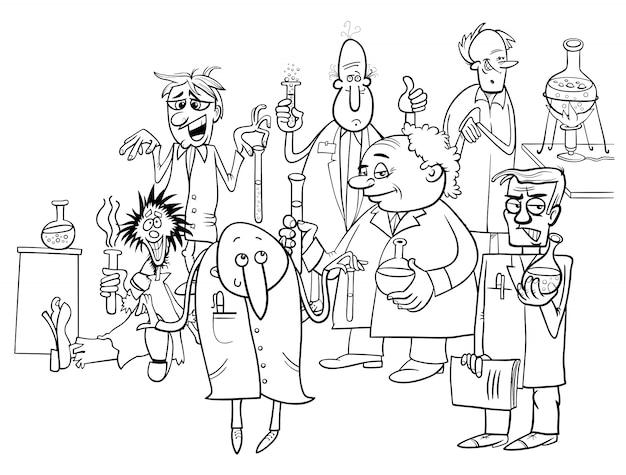 Personajes de científicos de dibujos animados para colorear ...