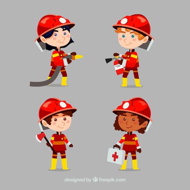 Personajes de dibujos animados bombero en acción