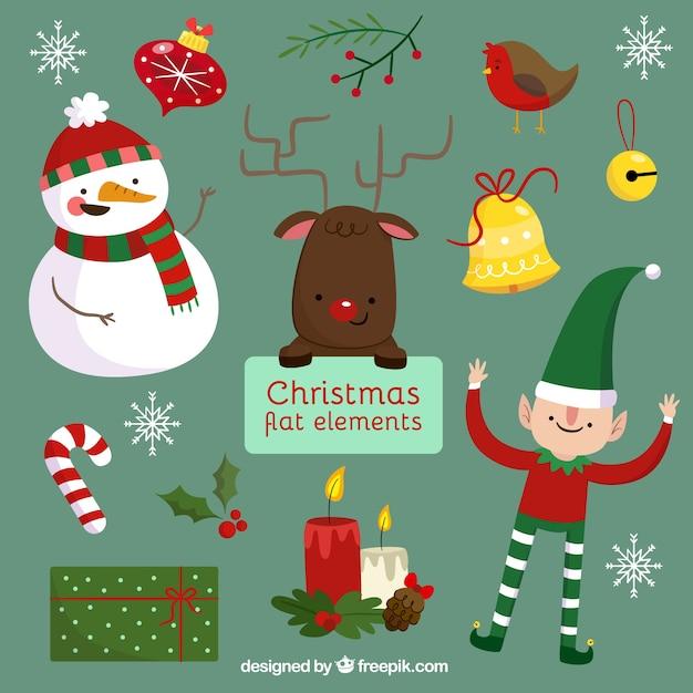 Personajes De Navidad Y Decoraci N En Dise O Plano