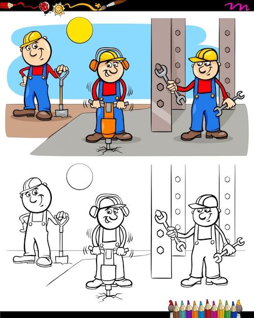 Personajes de obreros o constructores para colorear | Descargar ...