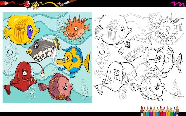 Personajes de peces para colorear | Descargar Vectores Premium