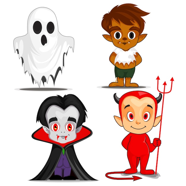Personajes de dibujos animados espeluznantes de halloween ...