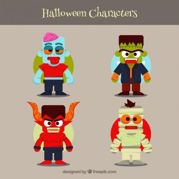 Personajes de dibujos animados de halloween | Descargar Vectores gratis