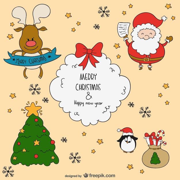 Personajes De Dibujos Animados Para Navidad Vector Gratis