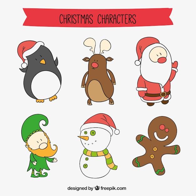 Personajes De Dibujos Animados De Navidad Vector Gratis