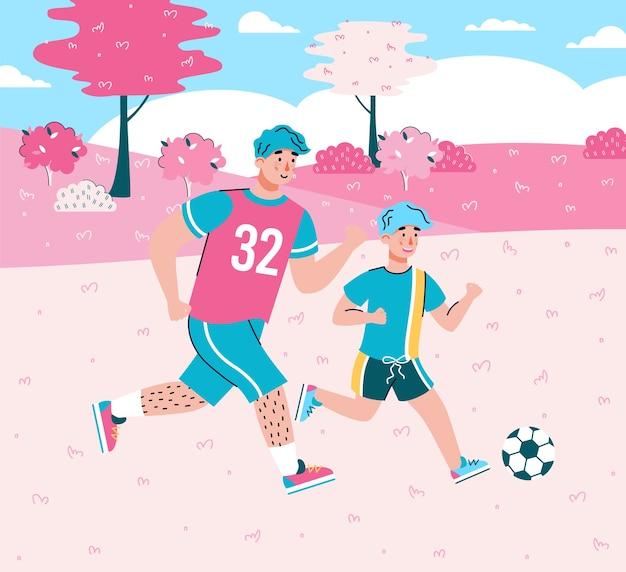 Personajes de dibujos animados de padre e hijo jugando al fútbol juntos en el fondo del paisaje de verano Vector Premium