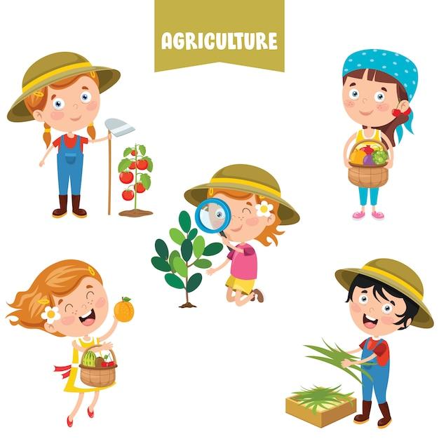 Personajes de dibujos animados trabajando en agricultura | Vector ...