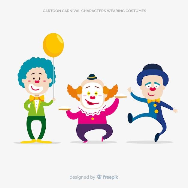 Personajes de dibujos disfrazados en carnaval vector gratuito