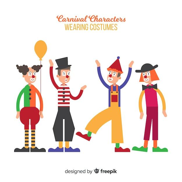 Personajes disfrazados en carnaval vector gratuito
