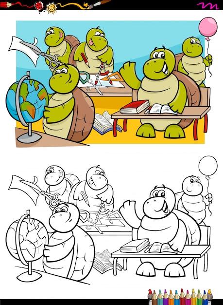Personajes de estudiantes de tortugas para colorear | Descargar ...