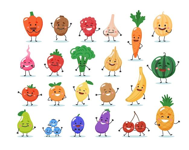 Personajes de frutas y verduras. Vector Premium