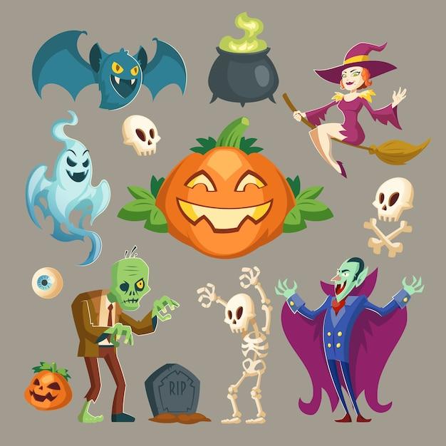 Personajes de halloween: vampiros miedosos, zombies verdes fantasmales y brujas bonitas. vector gratuito