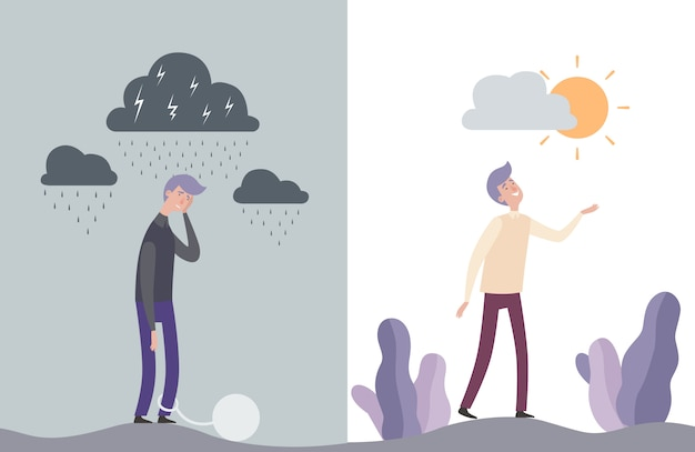 Personajes de hombre feliz e infeliz. ilustración de salud humana mental Vector Premium