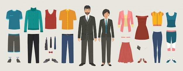 Personajes de hombre y mujer con negocios, casual, conjunto de ropa deportiva. dressing people kit de construcción. Vector Premium