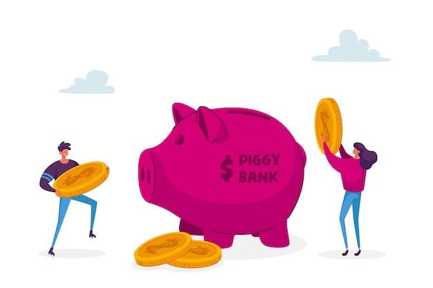 Los personajes de hombre y mujer ponen monedas de un dólar de oro en una alcancía enorme. Vector Premium