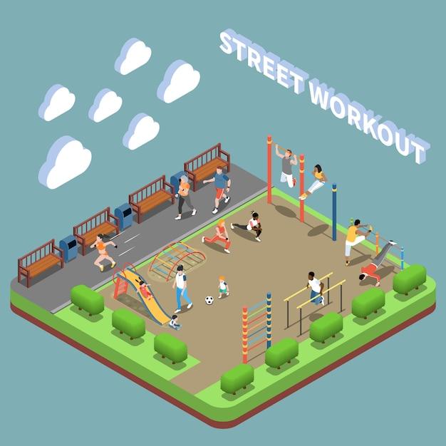 Personajes humanos y área de entrenamiento callejero con composición isométrica de terreno de juego en turquesa vector gratuito