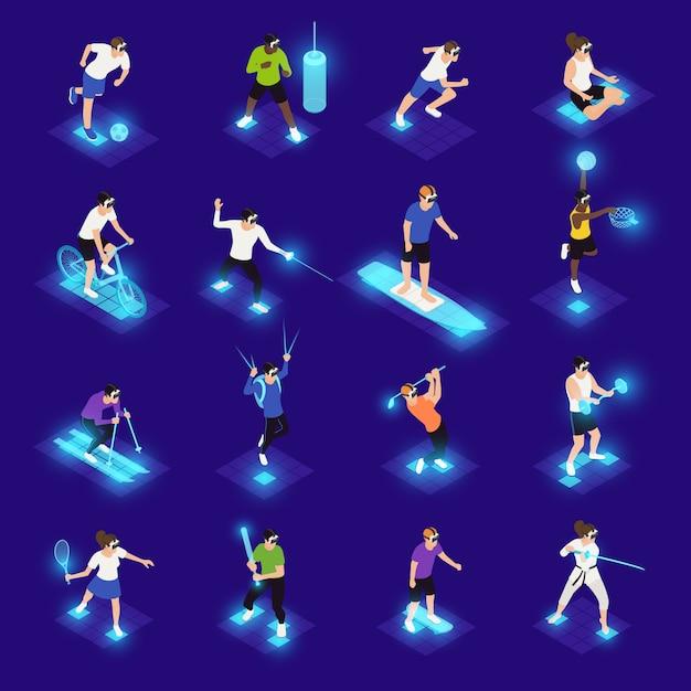 Personajes humanos en gafas vr durante varios iconos isométricos de actividad deportiva en azul vector gratuito
