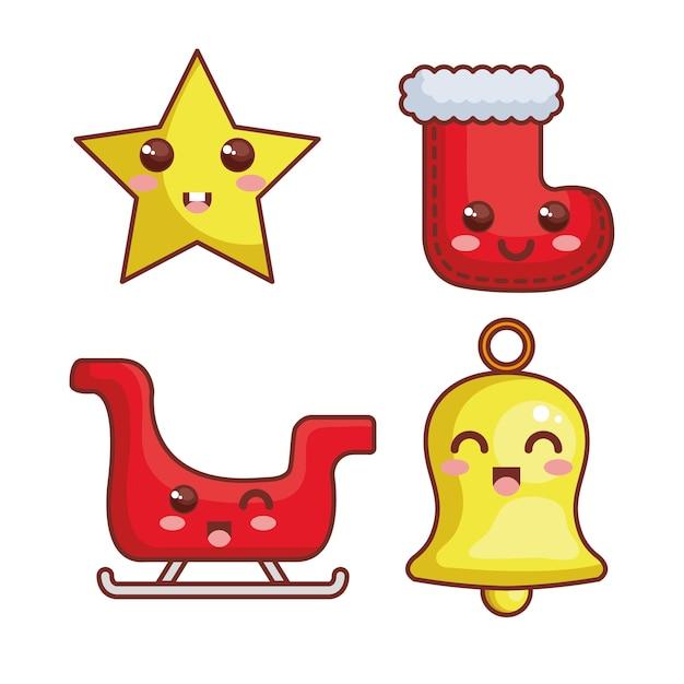 Personajes kawaii de feliz navidad Vector Premium
