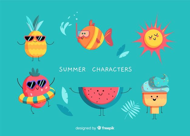 Personajes kawaii de helado vector gratuito
