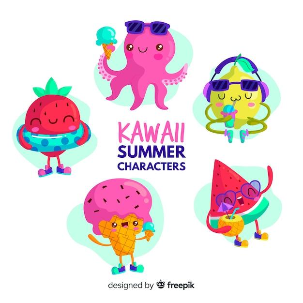 Personajes kawaii de verano vector gratuito