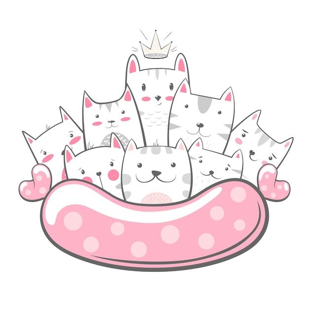 Personajes de kitty. Vector Premium