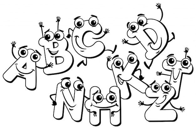 Personajes de letras divertidas de dibujos animados para colorear