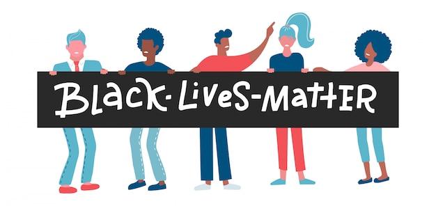 Personajes de manifestantes de hombres y mujeres negros estadounidenses. Vector Premium
