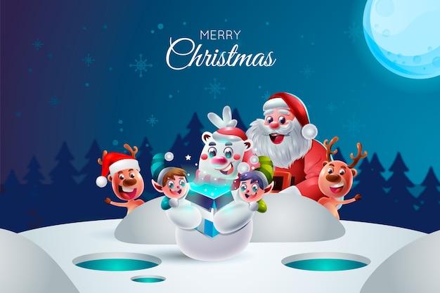 Personajes de navidad de dibujos animados realistas Vector Premium