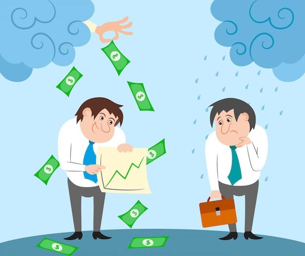 Personajes de negocios exitosos y fallidos. vector gratuito