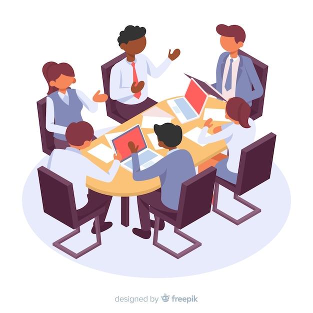 Personajes de negocios isométricos en una reunión vector gratuito