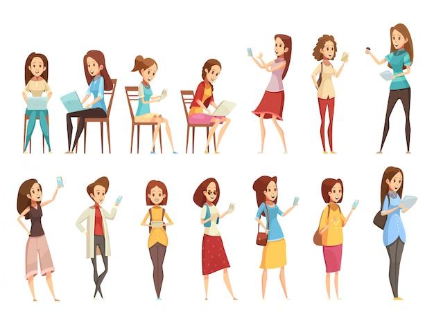 Los personajes de las niñas adolescentes con pancartas de iconos de dibujos animados retro de tableta y portátil de teléfono establecen ilustración vectorial aislado vector gratuito