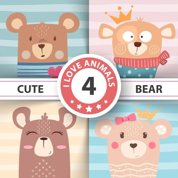 Personajes de oso Vector Premium