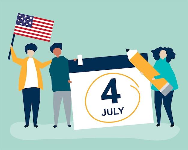 Personajes de personas y ilustración del concepto del cuatro de julio vector gratuito