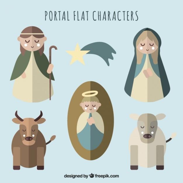 Personajes planos de la natividad vector gratuito