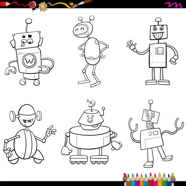 Personajes de robot para colorear | Descargar Vectores Premium