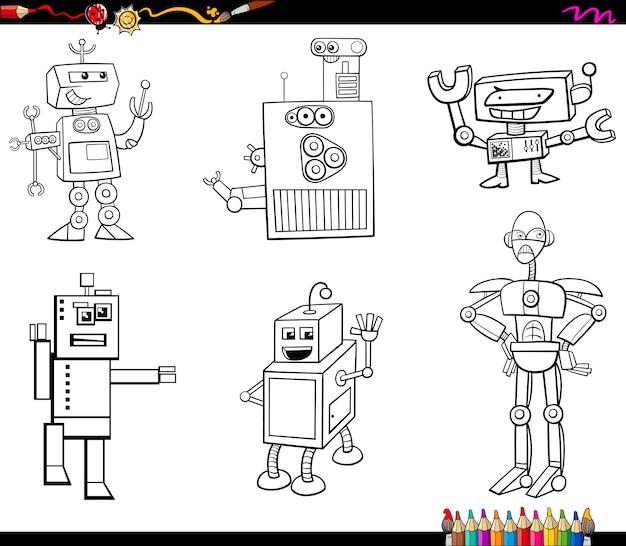Personajes de robots para colorear libro | Descargar Vectores Premium