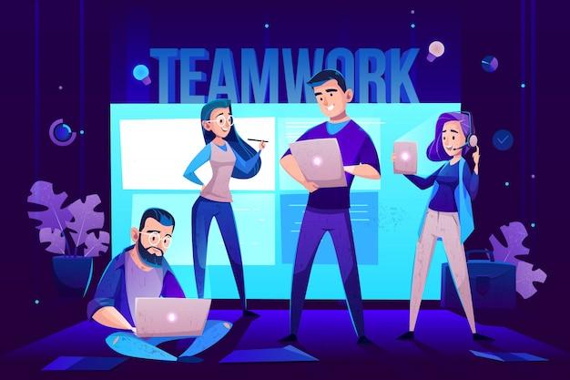 Personajes de trabajo en equipo, operador y equipo frente a la pantalla para presentaciones. vector gratuito