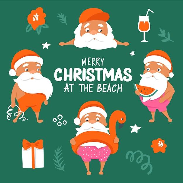 Personajes de verano santa. colección tropical christmas y happy new year en un clima cálido. Vector Premium