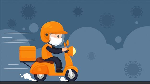 El personal de entrega de alimentos viaja en motocicletas para entregar alimentos durante un confinamiento en el hogar del virus corona. Vector Premium