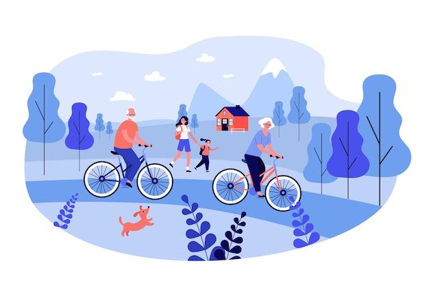 Personas activas en bicicleta y caminando al aire libre. Vector Premium