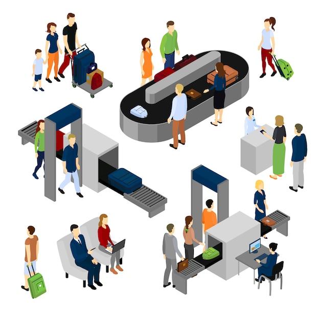 Personas en el aeropuerto conjunto isométrico vector gratuito