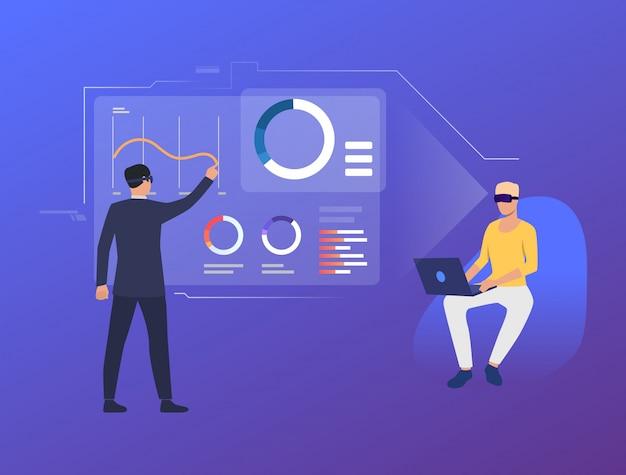 Personas analizando gráficos financieros en interfaz virtual. vector gratuito