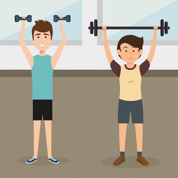 Personas atléticas practicando ejercicios de personajes vector gratuito