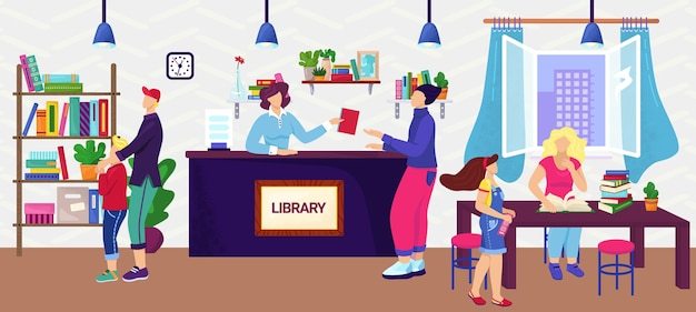 Personas en biblioteca, lectores, concepto de conocimiento, ilustración. adultos y niños en la biblioteca entre estanterías leyendo libros. educación y estudio, aprendizaje. el bibliotecario ayuda a ordenar el libro. Vector Premium